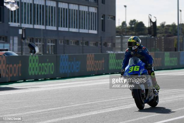 Suzuki Ecstar's Spanish rider Joan Mir wins the MotoGP race of the European Grand Prix at the Ricardo Tormo circuit in Valencia on November 8, 2020.