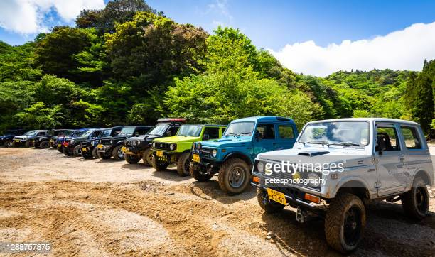suzuki jimny's in the mountains off roading - brand name stock pictures, royalty-free photos & images