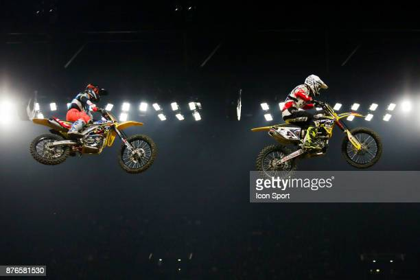 Suzuki JPM's rider Yannis Irsuti of France and Suzuki Amexio's rider Arnaud Aubin of France during the Supercross of Paris on November 19 2017 at U...