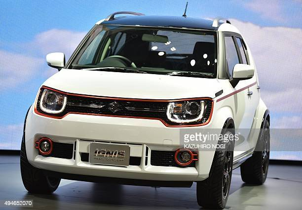 Suzuki Motor Displays The Ignis Trail Concept Car During A Press Preview At Companys Booth