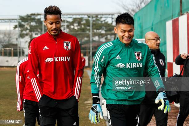 Suzuki Musashi and Nakamura Kosuke attend the training session of the EAFF E-1 Football Championship at Gangseo Sports Park on December 13, 2019 in...