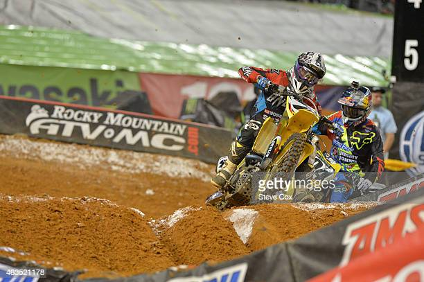 Suzuki's Blake Baggett had his best finish of the season with fourth place at the Monster Energy Supercross at ATT Stadium on February 14 2015 in...