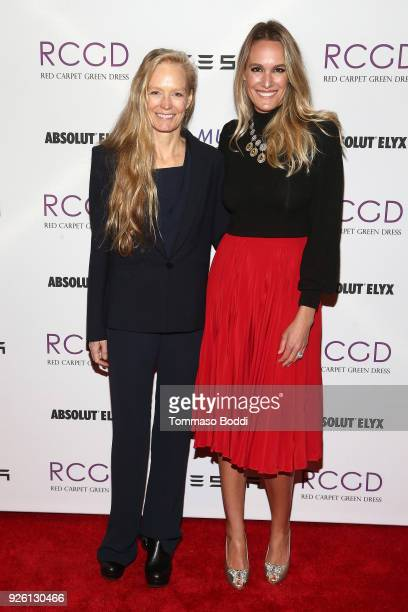 Suzy Amis Cameron and Ashlan Gorse Cousteau attend the Suzy Amis Cameron Hosts The Red Carpet Green Dress 9th Annual PreOscars Celebration at Private...