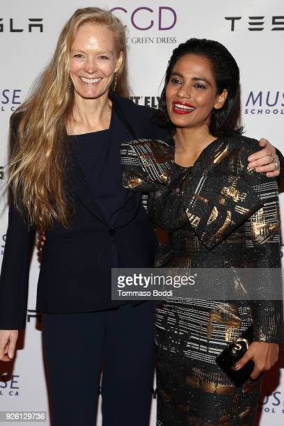 Suzy Amis Cameron and Priyanka Bose attend the Suzy Amis Cameron Hosts The Red Carpet Green Dress 9th Annual PreOscars Celebration at Private...