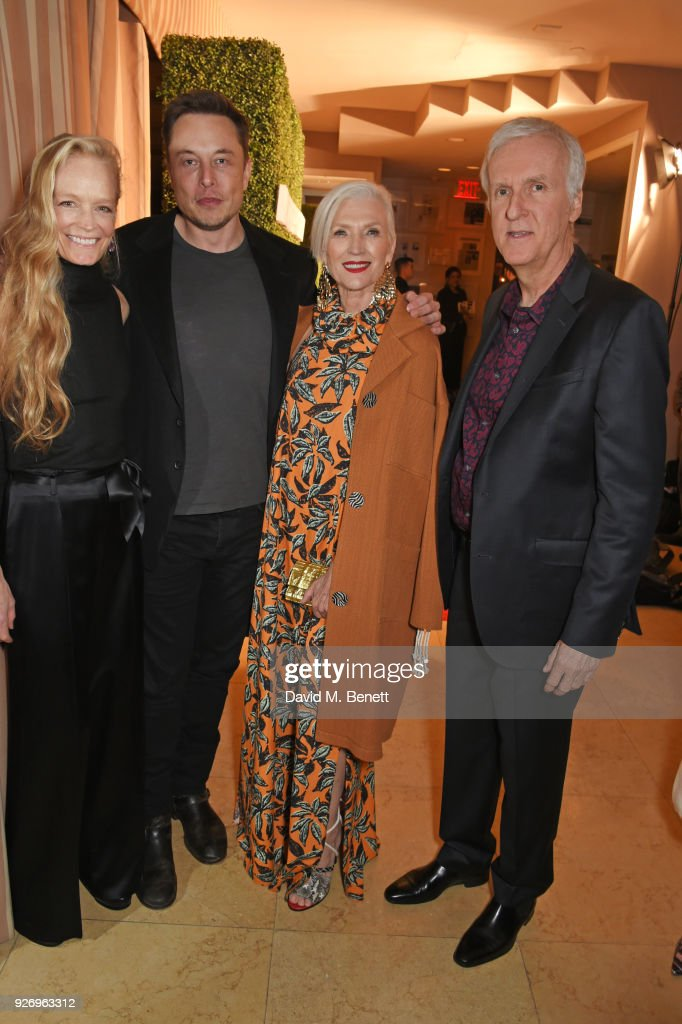 Suzy Amis Cameron, Elon Musk, Maye Musk and James Cameron attend the