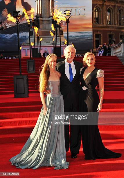 Suzy Amis director James Cameron and actress Kate Winslet attend the 'Titanic 3D' world premiere at the Royal Albert Hall on March 27 2012 in London...