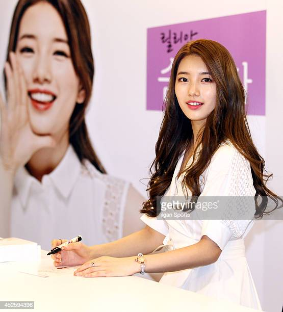 SuZy attends her autograph session for Lilian at Olive Young on July 22 2014 in Seoul South Korea