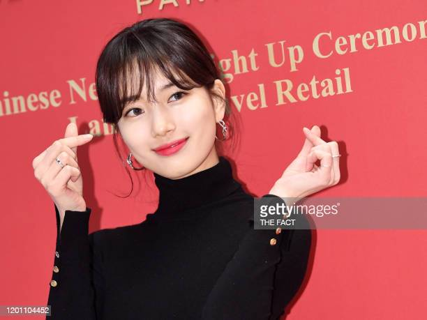 Suzy attends LANCOME GENIFIQUE pop-up store event at Lotte Tower on January 18, 2020 in Seoul, South Korea.