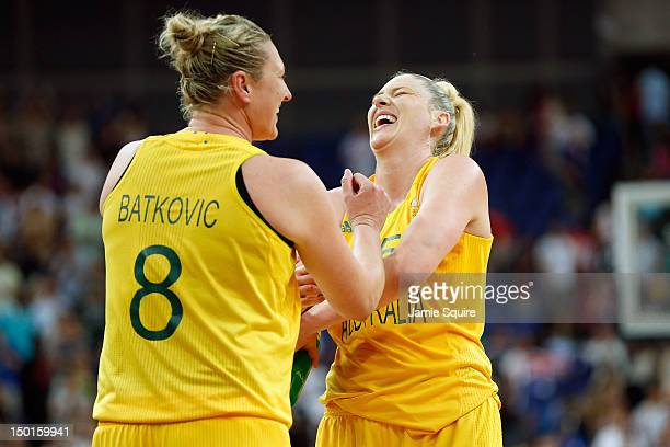 Suzy Batkovic and Lauren Jackson of Australia celebrate after they won 8374 against Russia during the Women's Basketball Bronze Medal game on Day 15...