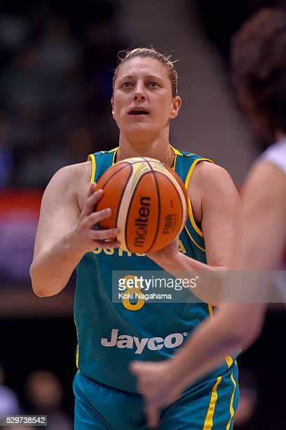 Suzy Batkovic of Australia attempts a free throw during the Women's Basketball International Friendly match between Japan and Australia at Yoyogi...