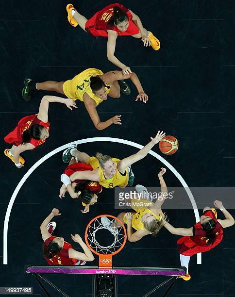 Suzy Batkovic of Australia reaches for a rebound against China during the Women's Basketball quaterfinal on Day 11 of the London 2012 Olympic Games...