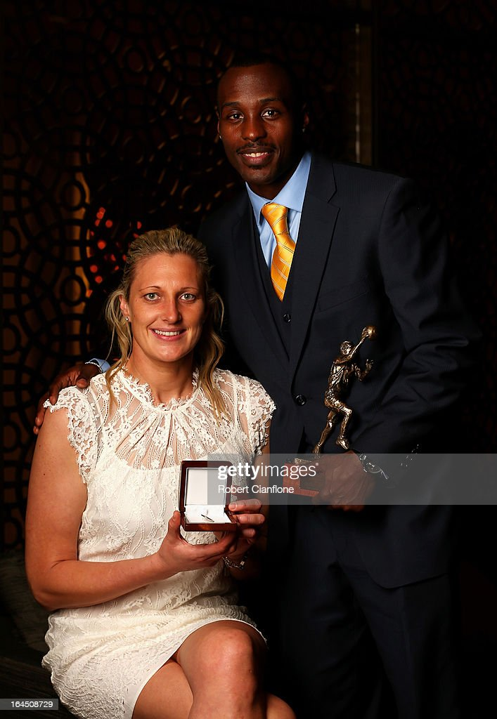 Suzy Batkovic of the Adelaide Lighting and winner of the WNBL Most Valuable Player Award poses with Cedric Jackson of the New Zealand Breakers and winner of the NBL Most Valuable Player Award during the 2013 Basketball Australia MVP Awards at Crown Palladium on March 24, 2013 in Melbourne, Australia.