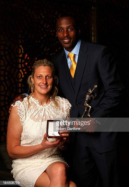 Suzy Batkovic of the Adelaide Lighting and winner of the WNBL Most Valuable Player Award poses with Cedric Jackson of the New Zealand Breakers and...