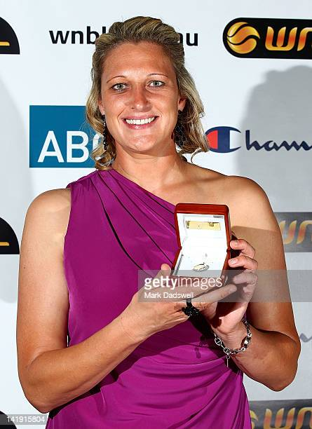 Suzy Batkovic of the Adelaide Lightning poses with the WNBL Most Valuable Player trophy during the 2012 Basketball Australia MVP Awards Night at...