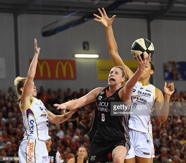 Suzy Batkovic of the Fire attempts a lay up during game three of the WNBL Grand Final series between the Townsville Fire and Melbourne Boomers at the...