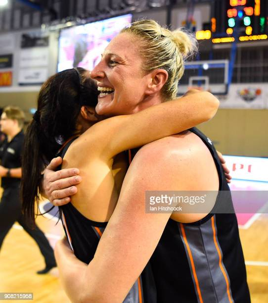 Suzy Batkovic of the Fire celebrates after winning game three of the WNBL Grand Final series between the Townsville Fire and Melbourne Boomers at the...