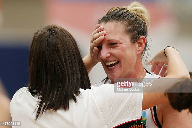 Suzy Batkovic of the Fire celebrates the win during the WNBL Preliminary Final match between the Dandenong Rangers and the Townsville Fire on March 2...