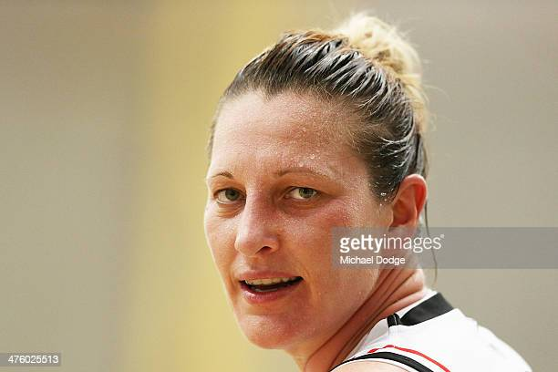 Suzy Batkovic of the Fire looks ahead during the WNBL Preliminary Final match between the Dandenong Rangers and the Townsville Fire on March 2 2014...