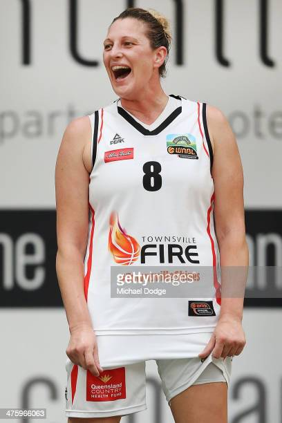 Suzy Batkovic of the Fire reacts after conceding a foul during the WNBL Preliminary Final match between the Dandenong Rangers and the Townsville Fire...