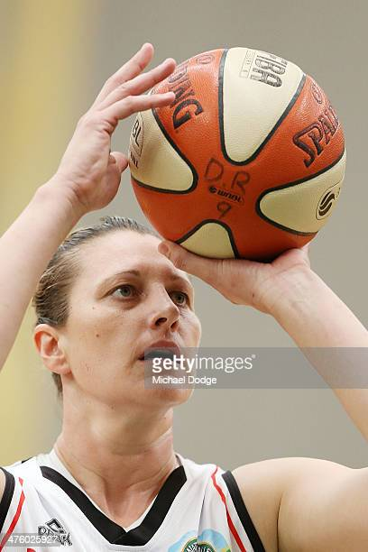 Suzy Batkovic of the Fire shoots the ball during the WNBL Preliminary Final match between the Dandenong Rangers and the Townsville Fire on March 2...