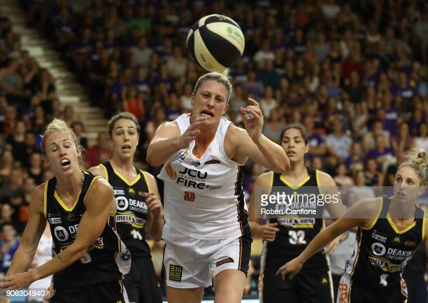Suzy Batkovic of the Townsville Fire looses the ball during game two of the WNBL Grand Final series between the Melbourne Boomers and the Townsville...