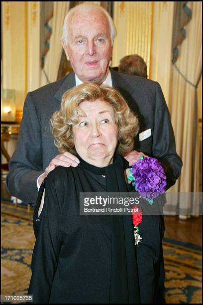 Suzy Delair and Hubert De Givenchy - Suzy Declair is made Officer of the National Order of Legion of Honor at the ministry of culture in Paris.