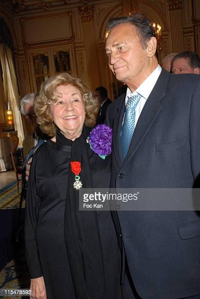 Suzy Delair and Roger Hanin during Suzie Delair Receives the Officier des Ars et Lettres Medal in Paris France