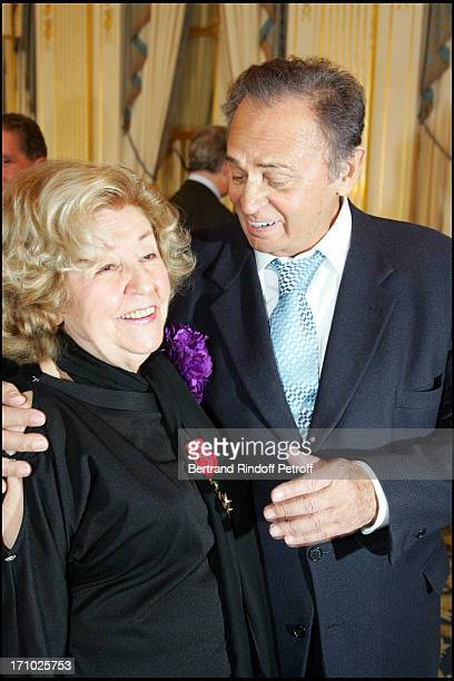 Suzy Delair and Roger Hanin - Suzy Declair is made Officer of the National Order of Legion of Honor at the ministry of culture in Paris.
