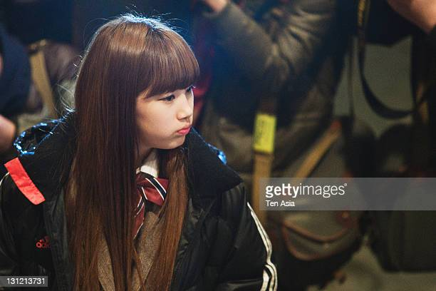 SuZy is seen during the KBS 2TV Drama 'Dream High' filming on January 25 2011 in Gyeonggido South Korea