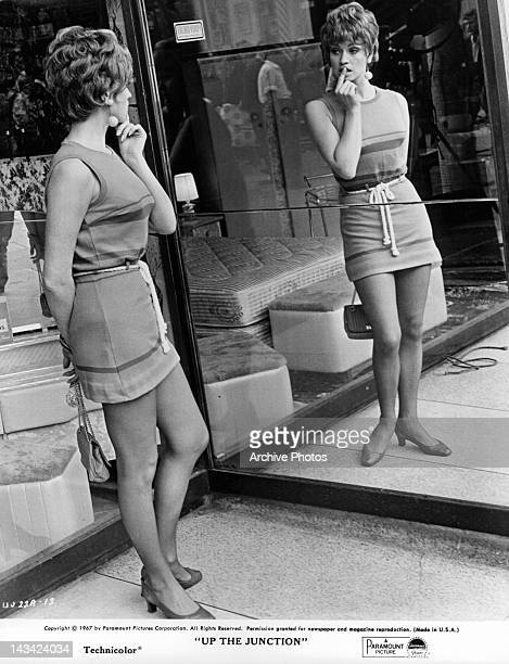 Suzy Kendall checking herself out in the mirror in a scene from the film 'Up The Junction' 1967