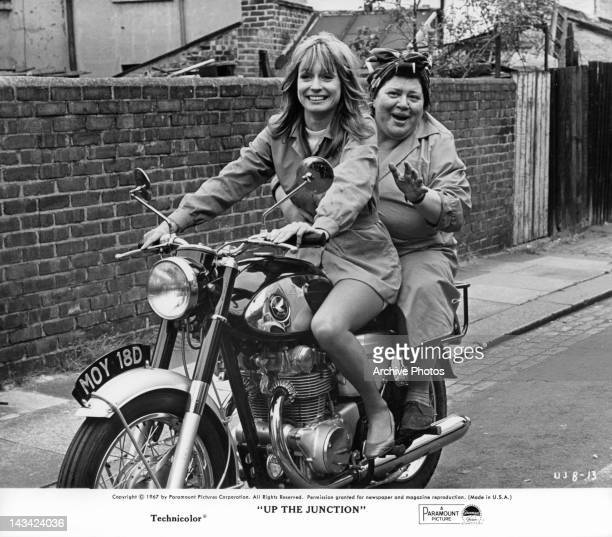 Suzy Kendall driving woman on motor bike in a scene from the film 'Up The Junction' 1967