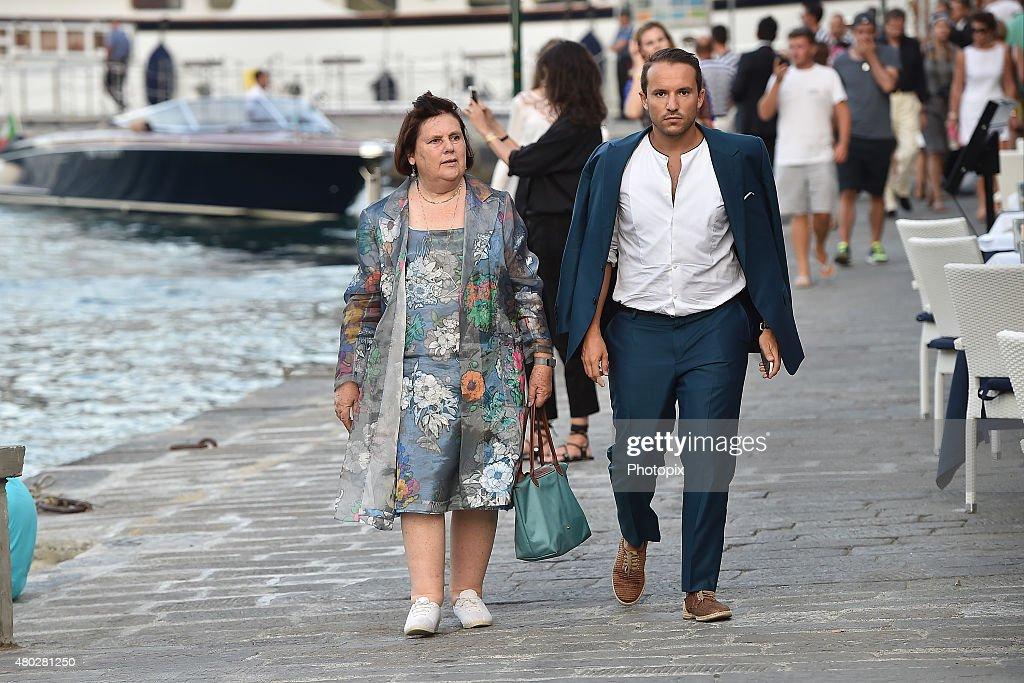 Suzy Menkes and Andrea Caravita are seen on July 10, 2015 in Portofino, .