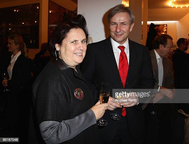 Suzy Menkes and Berlin's mayor Klaus Wowereit attend the IHT Techno Luxury Conference cocktail at The Corner on November 18 2009 in Berlin Germany