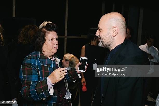 Suzy Menkes and Designer Hussein Chalayan pose prior to the Chalayan show as part of the Paris Fashion Week Womenswear Spring/Summer 2017 on...