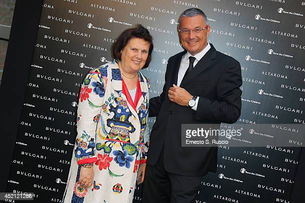 Suzy Menkes and Jean-Christophe Babin attend the 'Isabella Ferrari Forma/Luce' cocktail party at Horti Sallustiani on July 13, 2014 in Rome, Italy.