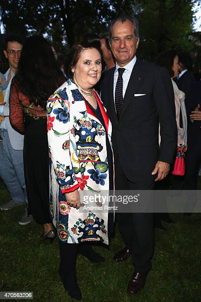 Suzy Menkes and Leonardo Ferragamo attend the Conde' Nast International Luxury Conference Welcome Reception at Four Seasons Hotel Firenze on April 21...