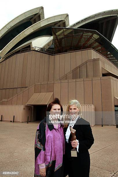 Suzy Menkes and Nancy Pilcher pose during the Australian Fashion Laureate Awards at Sydney Opera House on October 23 2015 in Sydney Australia