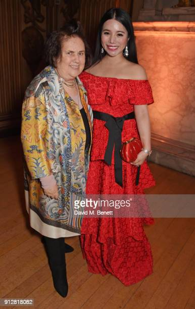 Suzy Menkes and Wendy Yu attend Wendy Yu's Chinese New Year Celebration at Kensington Palace on January 31 2018 in London United Kingdom