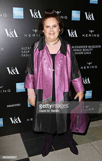 Suzy Menkes arrives at the Alexander McQueen Savage Beauty Fashion Gala at the VA presented by American Express and Kering on March 12 2015 in London...