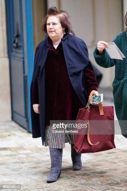 Suzy Menkes arrives at the Ulyana Sergeenko Presentation as part of Paris Fashion Week Haute Couture Spring Summer 2018 show as part of Paris Fashion...
