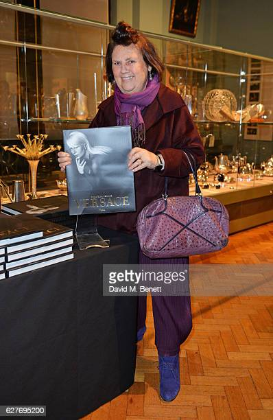 Suzy Menkes attends as Donatella Versace presents 'Versace' book talk in conversation with Tim Blanks at The VA on December 4 2016 in London England