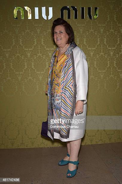 Suzy Menkes attends the Miu Miu Resort Collection 2015 at Palais d'Iena on July 5 2014 in Paris France