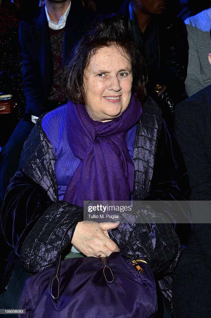 Suzy Menkes attends the Versace show as part of Milan Fashion Week Menswear Autumn/Winter 2013 on January 12, 2013 in Milan, Italy.