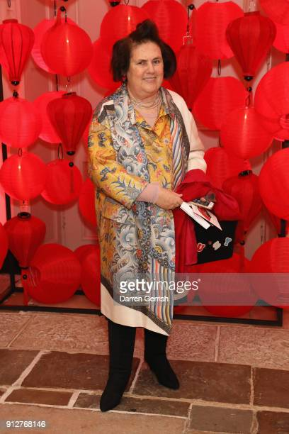 Suzy Menkes attends the Wendy Yu's Chinese New Year celebration at Kensington Palace on January 31 2018 in London England