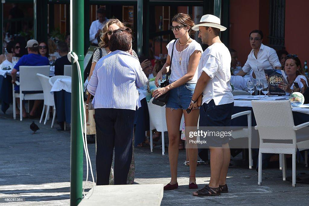 Suzy Menkes, Bianca Brandolini D'Adda and Andrea Caravita are seen on July 10, 2015 in Portofino, .