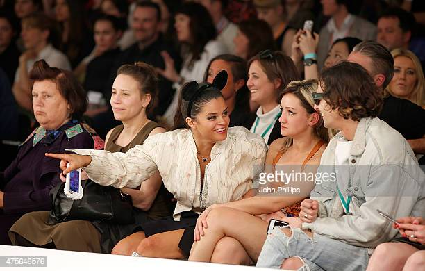 Suzy Menkes Bip Ling and Louby Mcloughlin attend on day 4 of Graduate Fashion Week at The Old Truman Brewery on June 2 2015 in London England