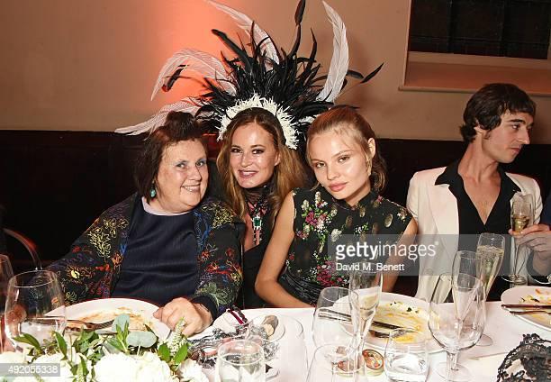 Suzy Menkes Eva Cavalli Magdalena Frackowiak and Daniele Cavalli attend Eva Cavalli's birthday dinner party at One Mayfair on October 9 2015 in...