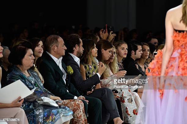 Suzy Menkes John Demsey Derek Blasberg and Jessica Alba attend the Giambattista Valli show as part of Paris Fashion Week Haute Couture Fall/Winter...