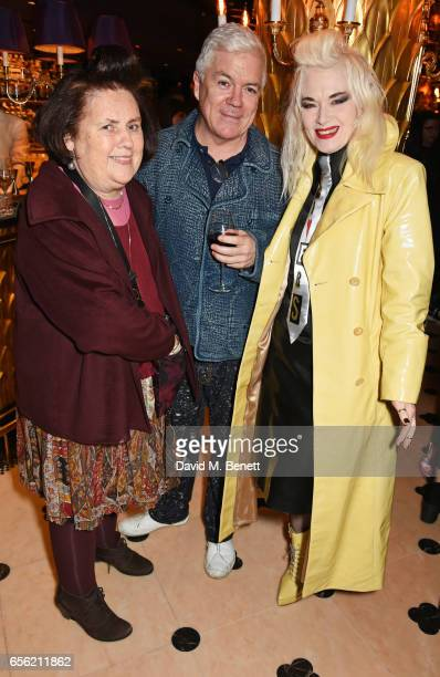 Suzy Menkes Tim Blanks and Pam Hogg attend the Another Man Spring/Summer Issue launch dinner in association with Kronaby at Park Chinois on March 21...