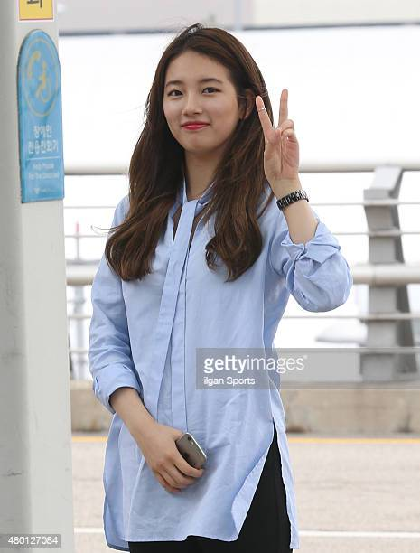SuZy of Miss A is seen at Incheon International Airport on July 7 2015 in Incheon South Korea